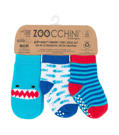 zoocchini baby comfort socks set - sherman the shark (set of 3)