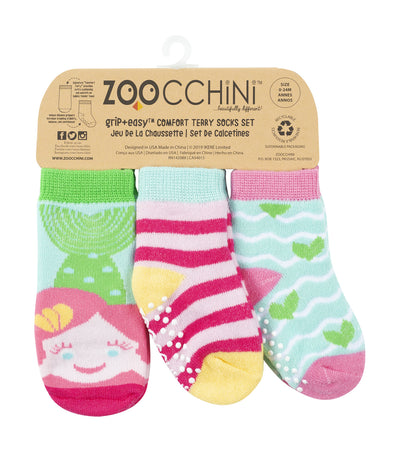 zoocchini baby comfort socks set - marietta the mermaid (set of 3)