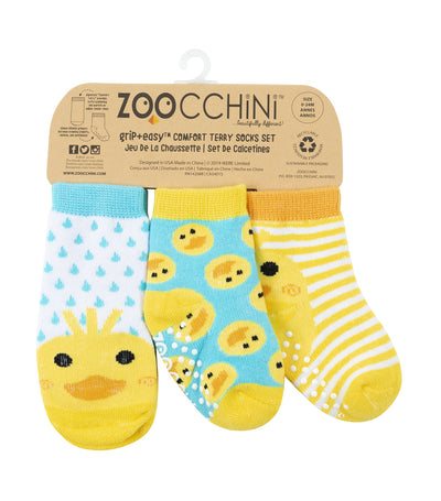 zoocchini baby comfort socks set - puddles the duck (set of 3)