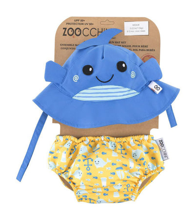 zoocchini upf50+ baby swim diaper and sun hat set - willy the whale