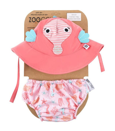 zoocchini upf50+ baby swim diaper and sun hat set - sally the seahorse