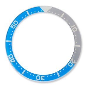 RC0625 SKX007 Flat Glass Bezel Insert - Blue/Gray