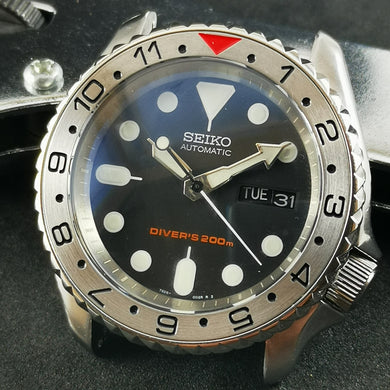 SI0097 SKX007 Stainless Bezel Insert - Dual Time Red