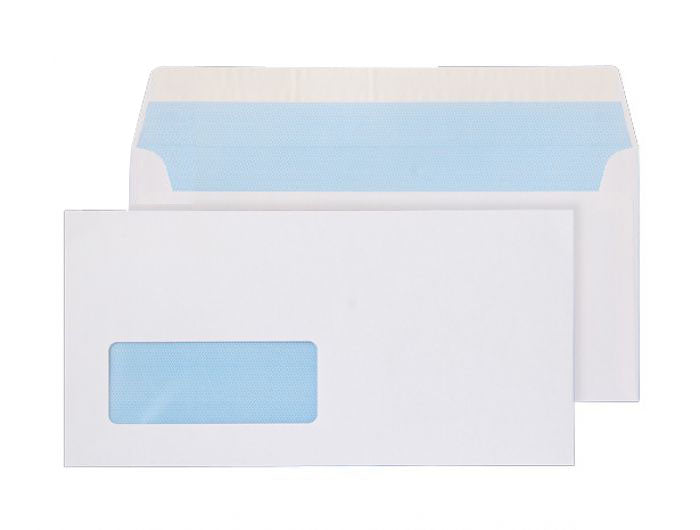 110 x 220mm DL Snowdonia White Window Peel & Seal Wallet 3870