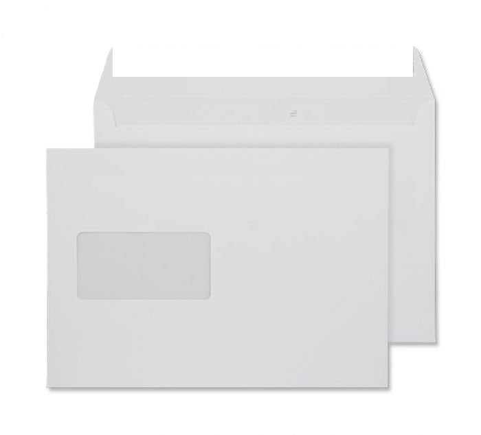 162 x 229mm C5 Conqueror Brilliant White Window Wove Peel & Seal Wallet [Pack 250] C01559