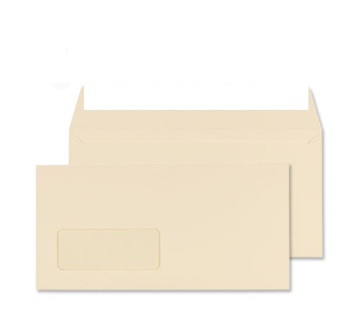 110 x 220mm DL Robson Cream Window Wove Peel & Seal Wallet C3216