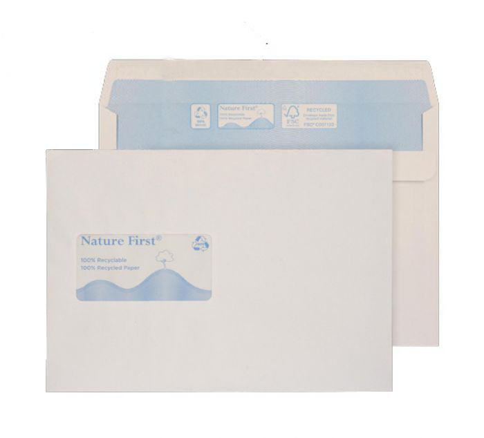162 x 229mm C5 Tryfan Recycled White Window Self Seal Wallet R3414