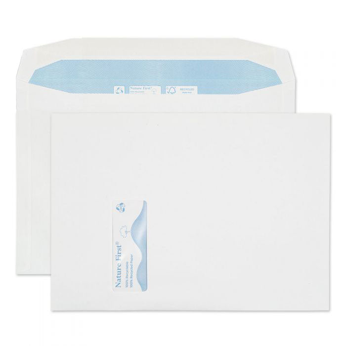 229 x 324mm C4 Tryfan Recycled White Window Gummed Wallet R3734