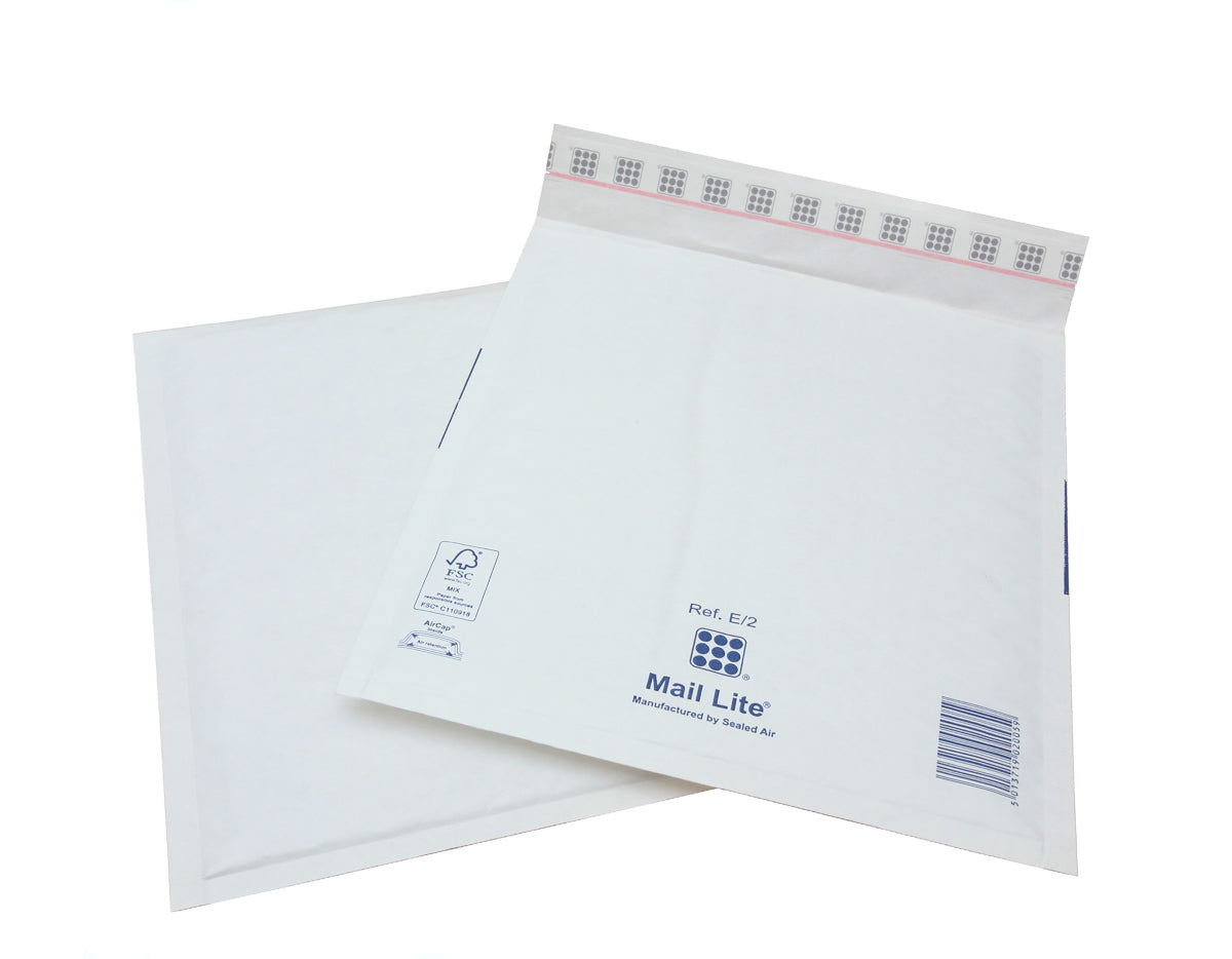 220 x 260mm  Mailite White Peel & Seal Padded Bags E/2