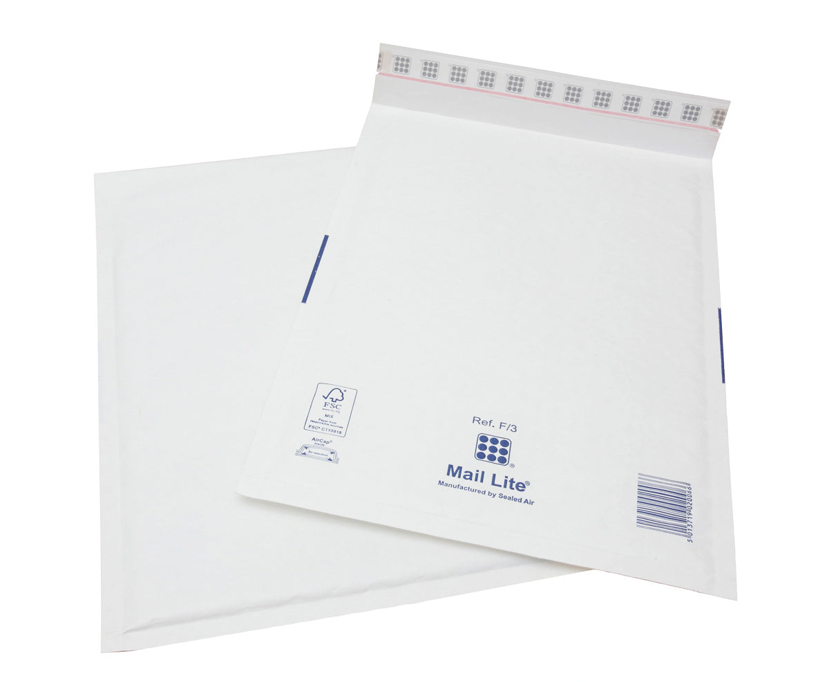 220 x 330mm  Mailite White Peel & Seal Padded Bags F/3