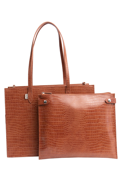 The Mini Work Tote in Cognac Croc