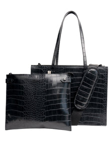 The Mini Work Tote in Black Croc