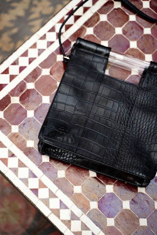 The Crossbody in Black Croc