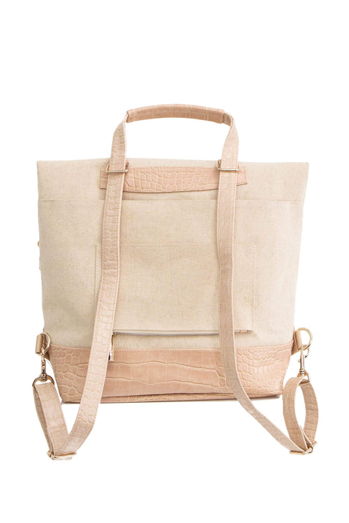 The Convertible Backpack in Beige Croc