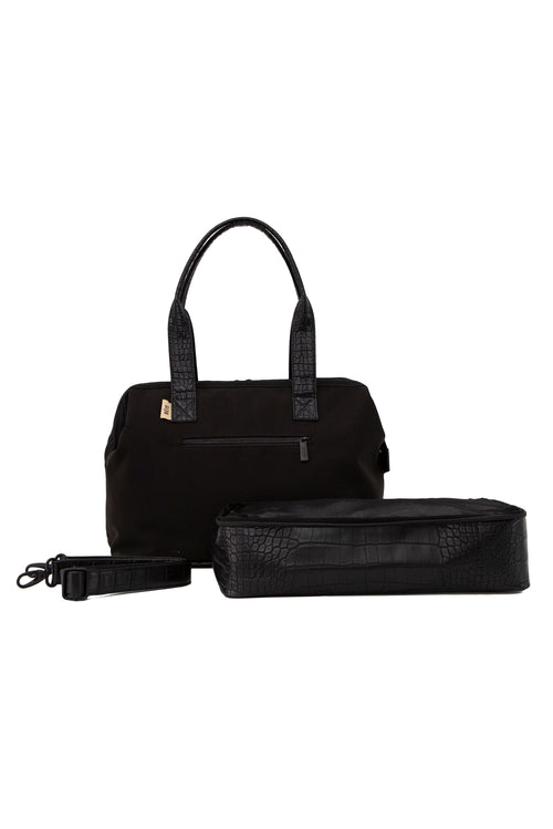 The Convertible Mini-Weekender in Black Croc