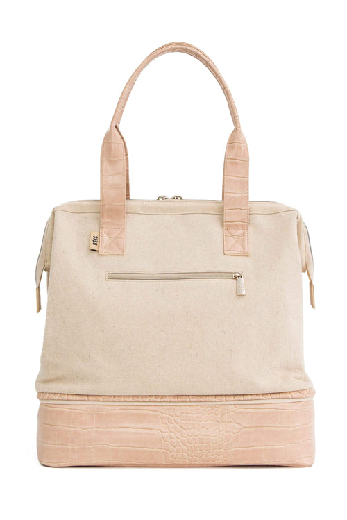 The Convertible Mini Weekender in Beige Croc