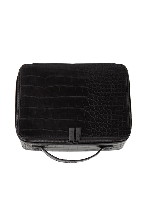 The Cosmetic Case in Black Croc