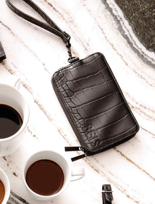 The Travel Wallet in Black Croc