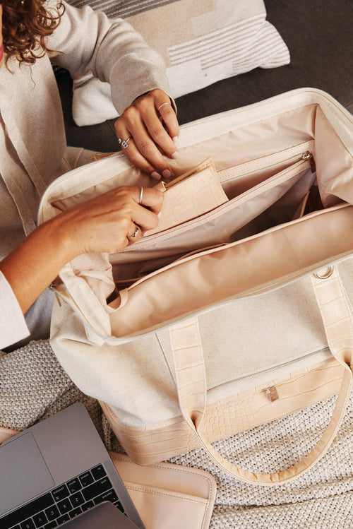 The Convertible Mini-Weekender in Beige Croc