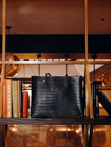 The Work Tote in Black Croc