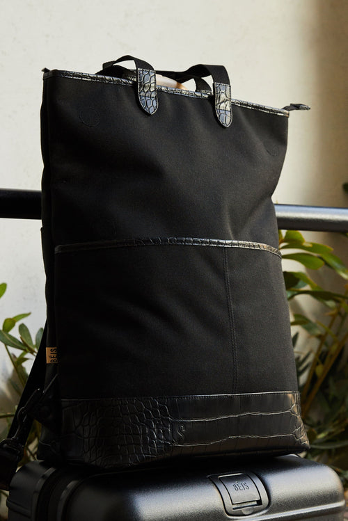 The Convertible Backpack in Black Croc