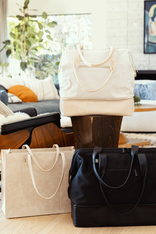 The Convertible Mini Weekender in Beige