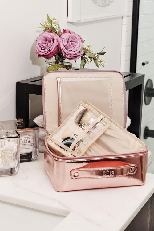 The Cosmetic Case in Metallic Pink