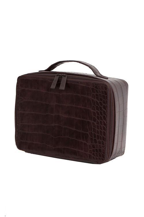 The Cosmetic Case in Espresso Croc