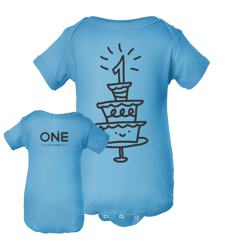 1st Birthday Cake Aqua Baby One Piece