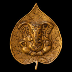 Brass Ganesh on Leaf