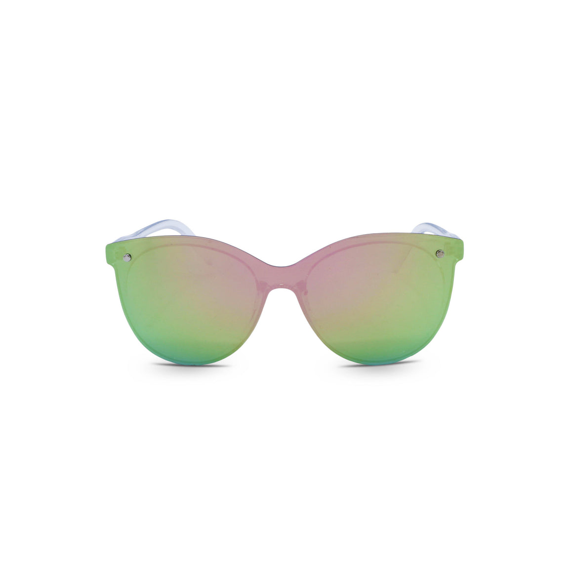 Retro Butterfly Sunglasses in Mirrored Pink Green Color