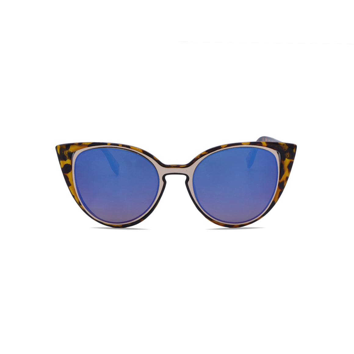 Retro Cat Eye Sunglasses in Leopard & Mirrored Blue Color