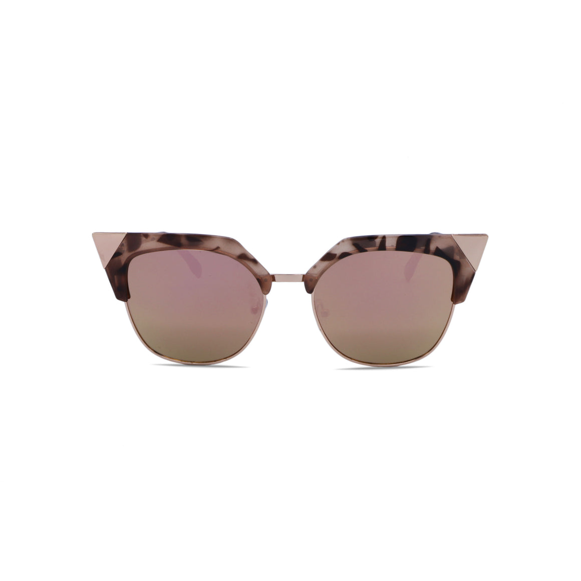 Retro Sunglasses Cat Eye in Mirrored Pink Lens & Leopard Rose Gold Frame