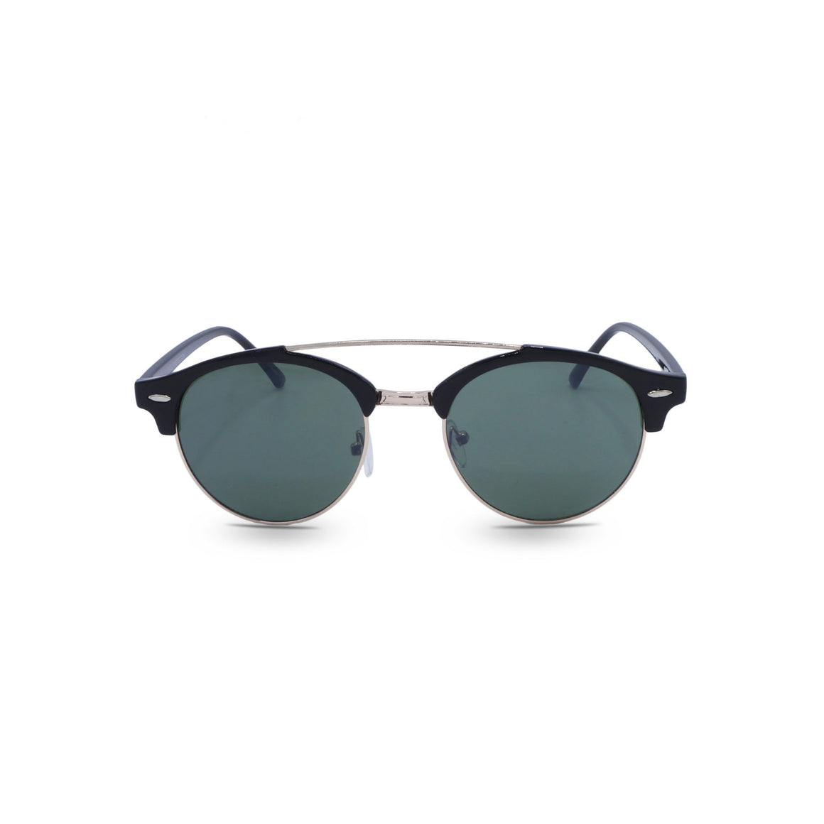 Retro Sunglasses Double Bridge in Brown Frame & Forest Green Lens