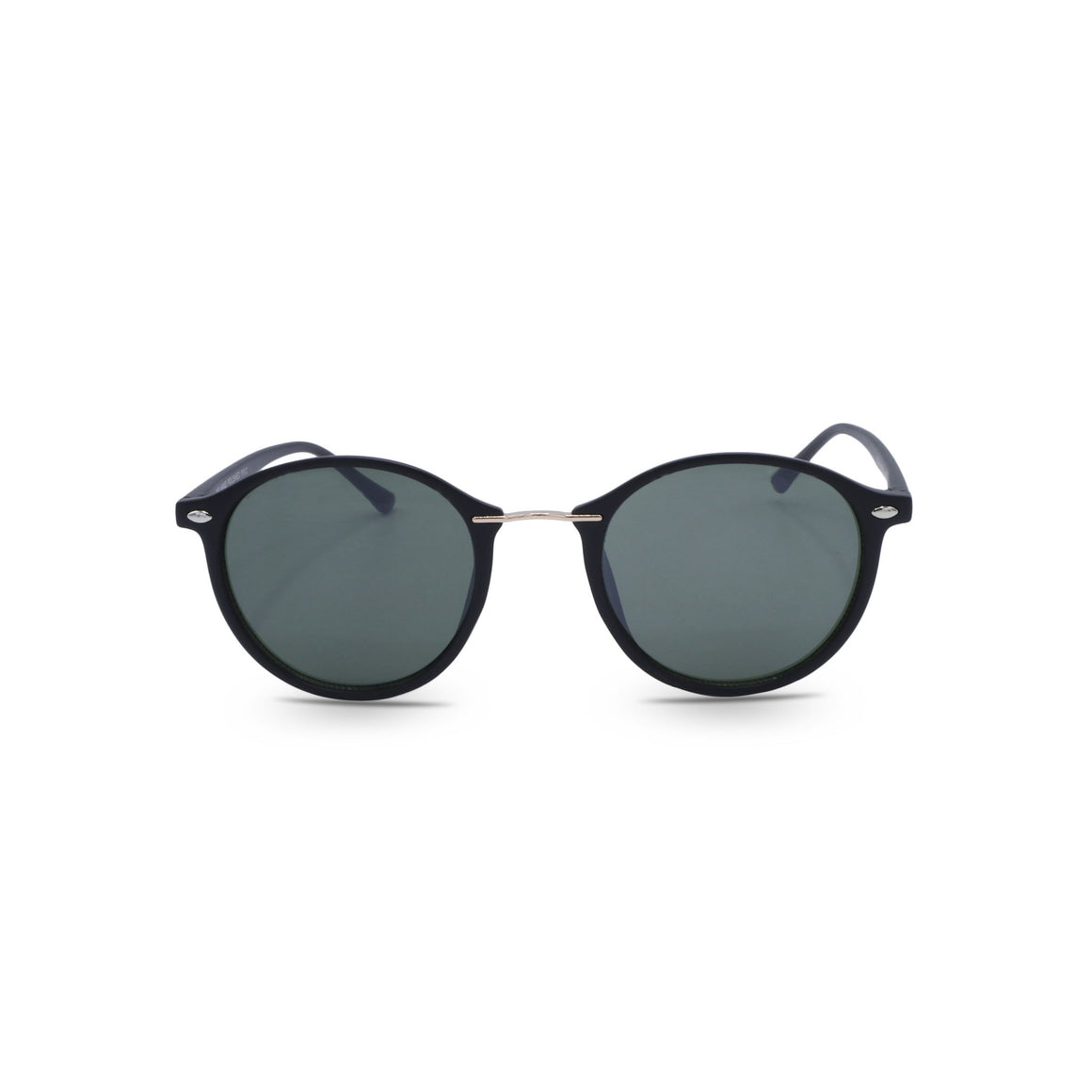 Retro Sunglasses Vintage Round in Matte Black Frame & Forest Green Lens