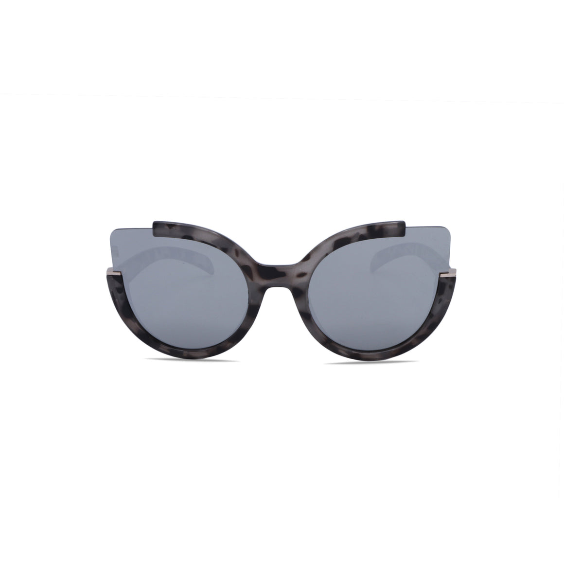 Rimless Sunglasses Butterfly Fashion in Marbled Black Grey Color