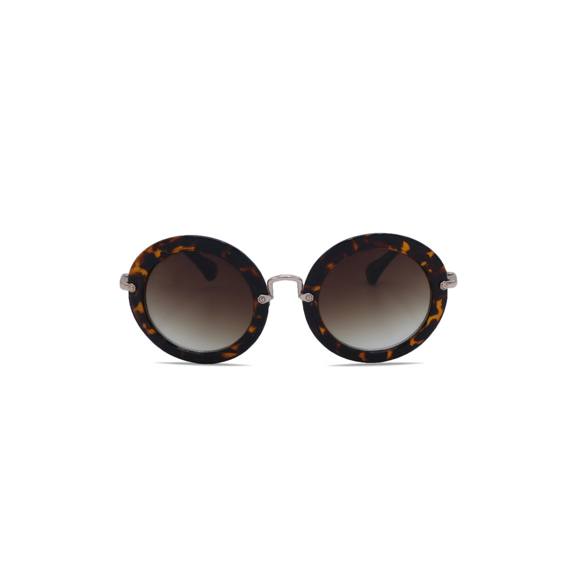 Vintage Sunglasses Retro Round in Leopard Brown Color