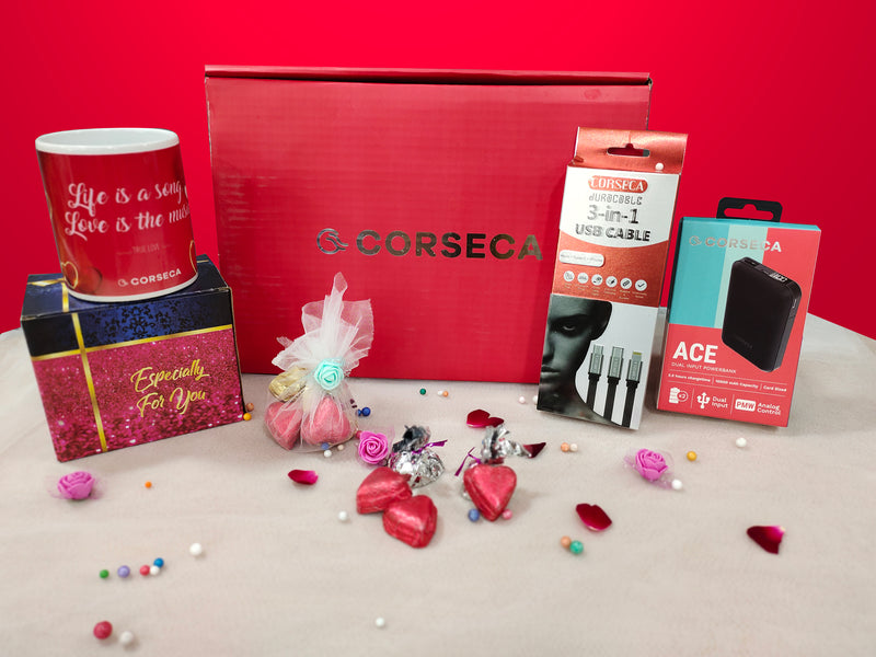 Valentine Hamper 1 (Ace Power Bank, Heart Shaped Chocolates,Mug with Love Print, 3 In 1 Cable)
