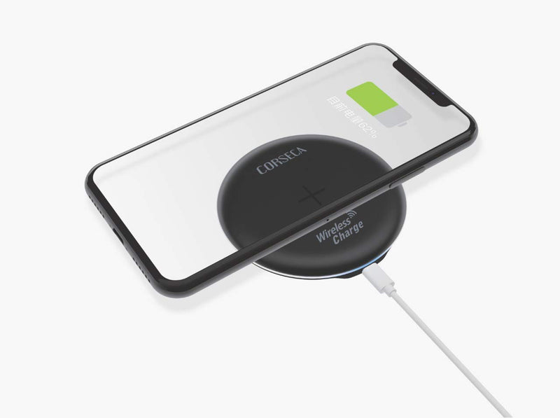 CORSECA Power Pie Qi-Certified Wireless Charging Pad for iOS Android Smartphone