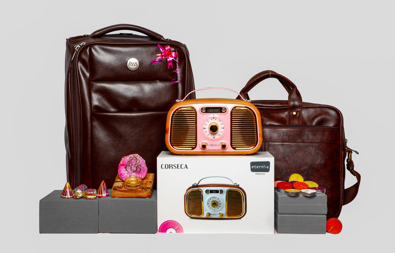 Diwali Hamper 11 - Travel pack with exotic Gifts (Eternia Speaker, Leather Trolly Bag, Leather laptop Bag, Decorative Ganesha, Candles, Crackers Chocolates