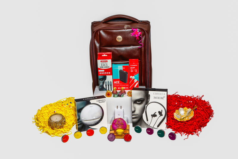 Diwali-Hamper 12  Corseca Luxurious Diwali gift (Ace Powerbank, Nek Plus Neckband, Mudisc Speaker, Adapter, Skylark Earphone, 3 in 1 Cables, Trolly Bag, Wooden decorative Ganesha, Chocolates, Candles, Golden and Silver Bowls)