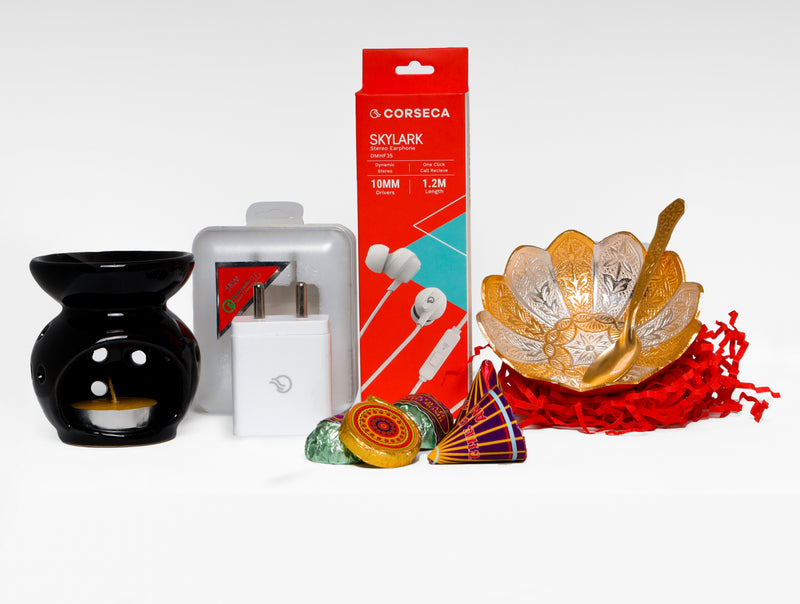 Diwali Hamper 2 - Diwali Celebration Box (Skylark Earphone, Adapter, Bowl, Chocolates, Diffuser)