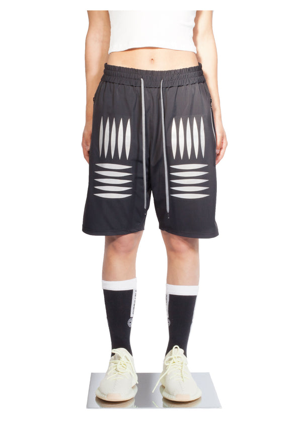 Checker Plate Short - Black - Women Front - CHROMABLE Paris SS19 - Black unisex sporty short