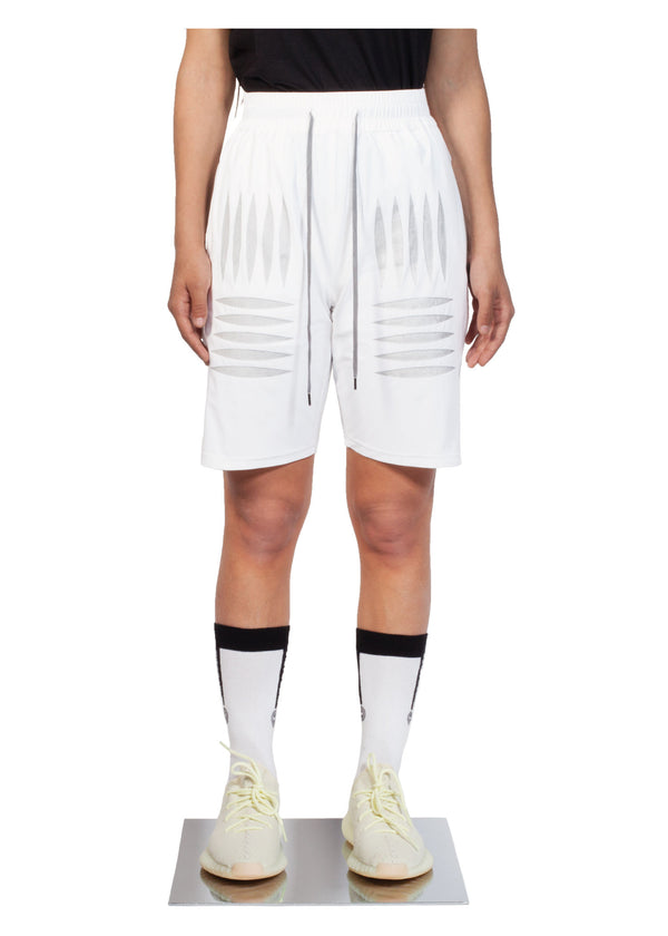 Checker Plate Short - White - Women Front - CHROMABLE Paris SS19 - White unisex sporty short