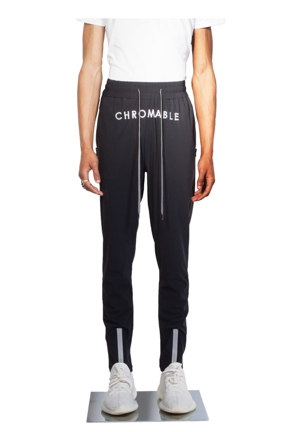 Checker Plate Track Pants - Black - Front - CHROMABLE Paris SS19 - Cosy Unisex Track Pants