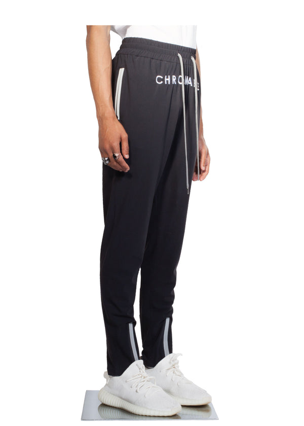 Checker Plate Track Pants - Black - Side - CHROMABLE Paris SS19 - Cosy Unisex Track Pants