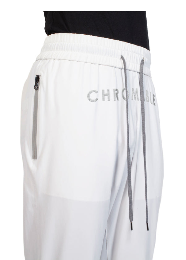 Checker Plate Track Pants - White - Details 1 - CHROMABLE Paris SS19 - Cosy Unisex Track Pants