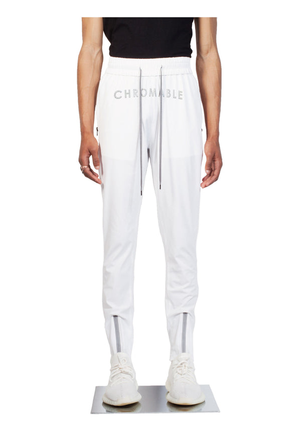 Checker Plate Track Pants - White - Front - CHROMABLE Paris SS19 - Cosy Unisex Track Pants