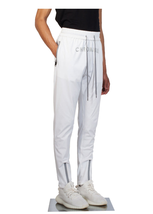 Checker Plate Track Pants - White - Side - CHROMABLE Paris SS19 - Cosy Unisex Track Pants