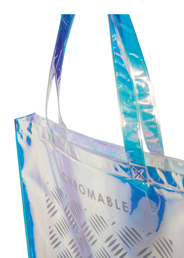 Chromatic Tote Bag - Blue/iridescent - Details - CHROMABLE Paris SS19 - Iridescent and blue unisex tote bag